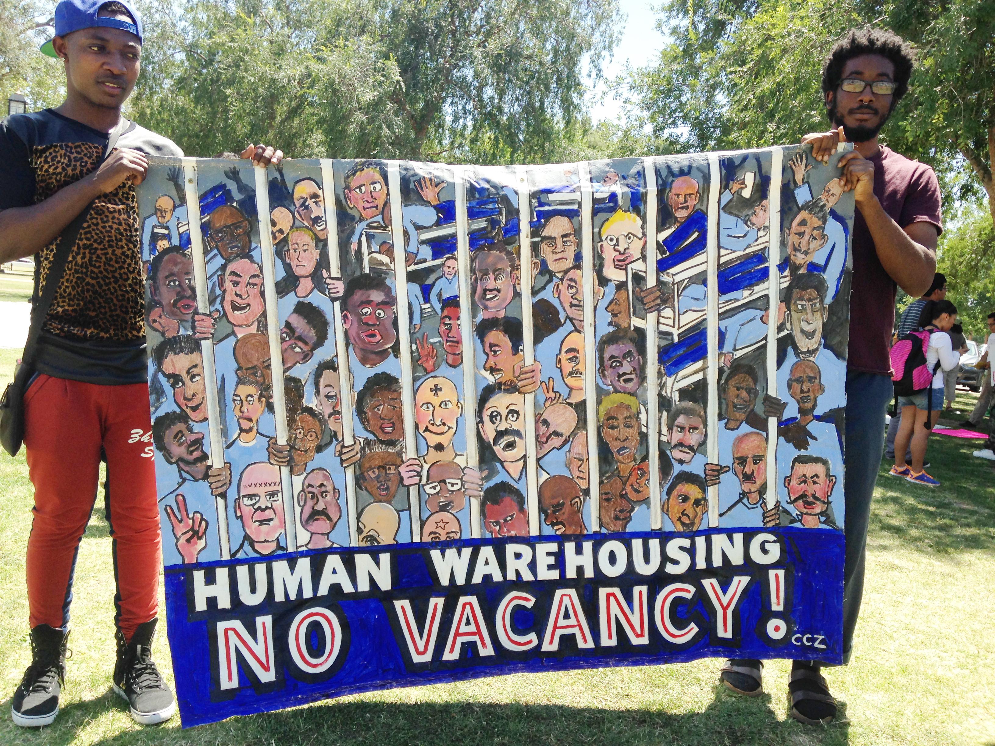 FAME caravan to free people banner