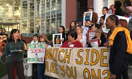 Jenny Lin rallies with workers for fair scheduling at Emeryville City Hall